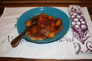 Gluten Free Pancakes w/ Peach and Raspberry compote